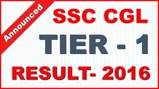 Check SSC CGL Tier 1 Result 2016 (Declared)