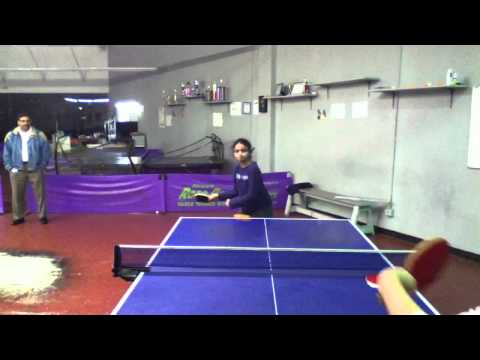 12 years old Indian girl play table tennis