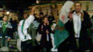 ALGERIAN CELEBRATION IN TRAVALGARD SQUARE IN LONDON UK - ALGRIA BEAT EGYBT 1-0