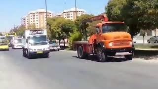 La grève générale des routiers continue en Iran, ici à Ilam - Kermanchah. le 26 septembre.