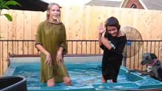 Girls dancing in the hot tub, August 22, 2009