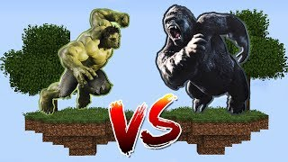 ILHA DO HULK VS ILHA DO KING KONG no MINECRAFT !!