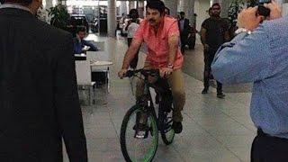 Mammotty riding bicycle to BMW showroom, Dubai   Hot Malayalam News