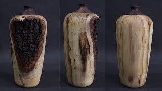 Woodturning - How To Turn A Elm Vase On The Lathe