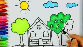 كيفية رسم ولون المنزل مع الشمس-كيفية رسم ولون الاطفال التلفزيون
