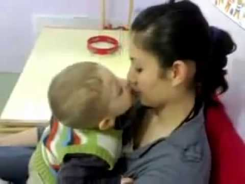 Small Boy Desperately Wants to Kiss the Girl..Must See