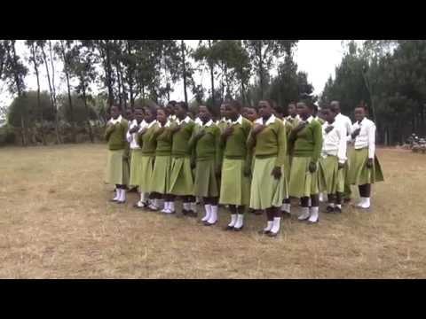 School girls at Kihansi Secondary School singing the Tanzanian national hymn