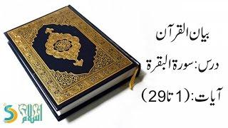 Dr. Israr Ahmed - Bayan ul Quran - Dars: Surah Al-Baqarah (Verse 1 to 29)