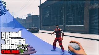 GTA 5 Online How to Throw Snowballs and Pick THEM UP! (GTA 5 Gameplay)