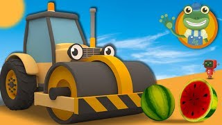 Squashing Fruit with Rick the Road Roller | Cartoons for Children | Gecko
