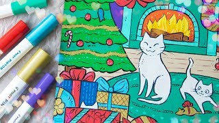 PAINT MARKER ART - Cute X-mas Cats! - Speed Drawing Illustration