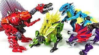 Transformers 7 colors dinosaurs dinobot 1/2 : Triceratops, Raptor, Stegosaurus - DuDuPopTOY