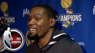 Kevin Durant and Andre Iguodala joke about Stephen Curry's dunk vs. the Cavaliers | ESPN