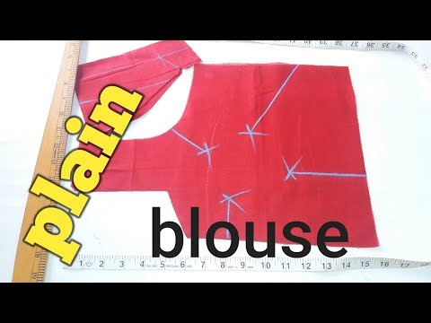Plain simple blouse cutting easy and simple method  ( hindi)