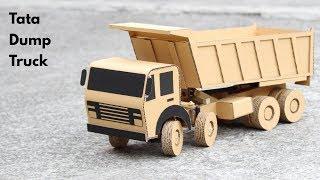 How To Make RC Tata Dump Truck From Cardboard || Tata 8 Wheeler Truck || Very Simple DIY