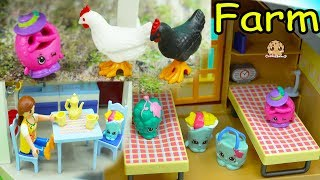 Season 8 World Vacation Shopkins Stay at Playmobil Farm - Toy Play Video