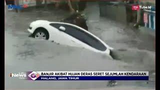Diterjang Banjir Di Malang, Pengendara Motor Wanita Dan Sebuah Mobil Terseret Arus - LIM 10/12