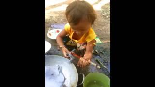 Comedy Funny Children Video Clip | children do the dishes in Cambodia