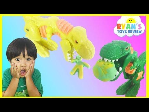 PLAY DOH JURASSIC WORLD WRECK 'N ROAR DINOSAUR GAME for Kids Egg Surprise Toys Marvel SuperHero