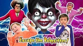 Scary Child Escapes the Babysitter with Granny and Miss T (Kids Skit)