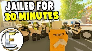 Crazy Police Chase Jailed For 30 Minutes - Unturned Roleplay (Car Thief Admin Abuse Almost Banned)