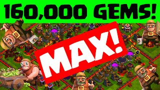 Clash of Clans GEMMED TO MAX ♦ 160,000 Gems - Town Hall 11!  ♦ CoC ♦