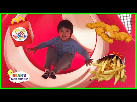 Family Fun Time at McDonald's Indoor Playground! Happy meal toy surprise with Ryan's Family Review