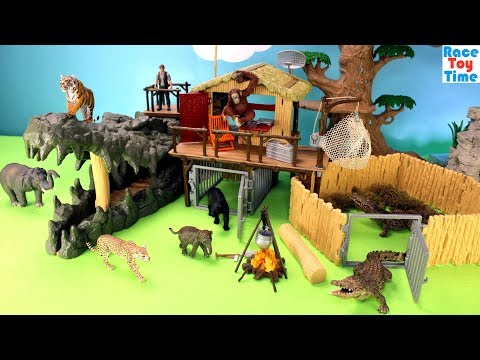 Schleich WildLife Crocodile Jungle Research Playset Fun Toys For Kids - Learn Animals Names
