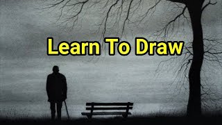How To Draw A Simple Landscape Using Graphite powder & Carbon Pencils