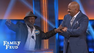 Garret Morris has a BONE TO PICK with Steve! | Celebrity Family Feud | OUTTAKE