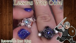 Reversible Box Beaded Ring DIY Jewelry Tutorial with Crescent Beads - Lessons With Odin