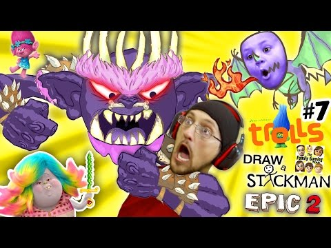 TROLLS MOVIE POPPY WEAPON! Draw a Stickman EPIC 2 🚸 Chapter 7 BERGEN BOSS BATTLE FIGHT w/ FGTEEV