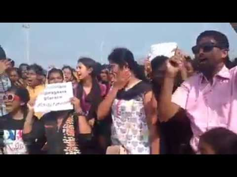 Young Tamil Girls Protest in Marina Beach - Part 2