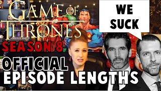 OFFICIAL Episode Lengths: Game of Thrones Season 8