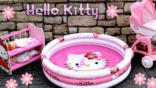Hello Kitty Dolls Stroller Pram Bunkbed & Swimming Pool Nursery Center Baby Born Baby Annabell