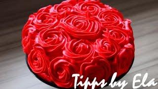 Rose Cake Tutorial whipped cream  - How to make a rose swirl cake no Fondant