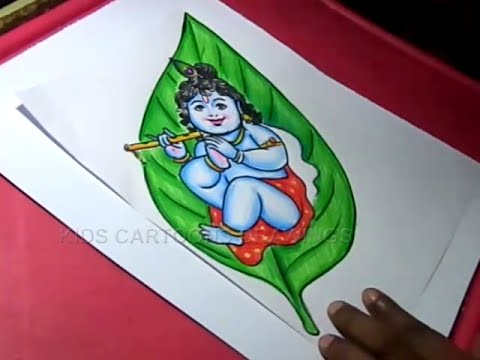 How to Draw Leaf Little krishna / Child Krishna Drawing for Kids Step by step