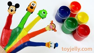 Learn Colors Nursery Rhymes Finger Family Hand Body Paint Pez Candy Mickey Mouse and Donald Duck