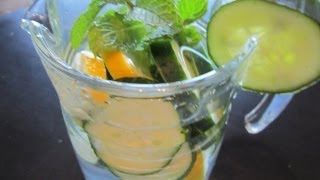 How to Make Cucumber Water and Lemon with Mint. Summertime drink using typical Scandinavian flavors