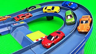 Best Kids Learning Cars Trucks Colors for Toddlers Teaching Colours Tomica Racing Circuit Play Set