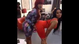 Ayisha Diaz, Mizz Dr & Veronica Trinidad BTS on set of Clappers