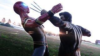 IRON SPIDER-MAN FIGHTS WOLVERINE vs CYCLOPS & JAX (IRON SPIDER FROM AVENGERS INFINITY WAR)
