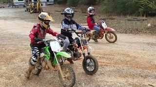 Kids riding Dirt bikes, drag racing, and big jumps at High Falls MX