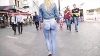 Girl Wearing Just A Thong And Booty Painted Jeans Walks Down Busy Street Unnoticed!