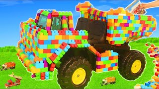 Fire Truck, Police Cars, Train, Excavator, Tractor & Garbage Trucks LEGO Toy Vehicles for Kids