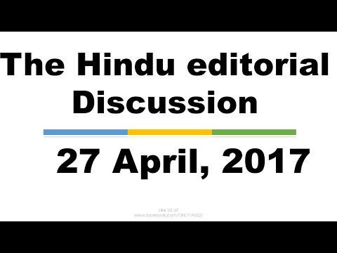 Hindi, 27 April,2017 The Hindu Editorial Discussion, Stock Exchange,Police reforms, India-Iran