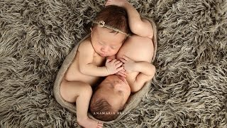Newborn Boy & Girl Twins Photographed in Studio with Ana Brandt