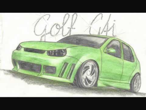 Zeichnungen v. Tuning Autos Honda Audi VW
