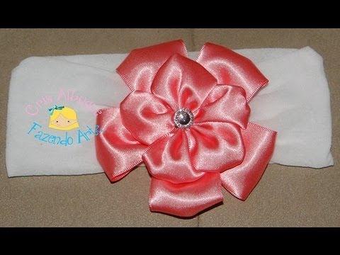 Faixa de meia de seda com flor de fita de cetim Passo a Passo DIY