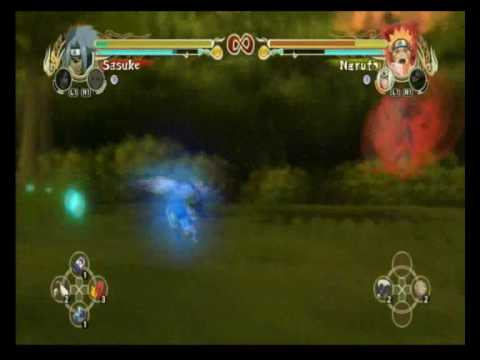 NUNS Cursed Seal Sasuke vs Kyuubi Naruto